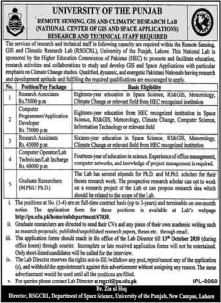 University Of Punjab PU Jobs 2020 in Lahore