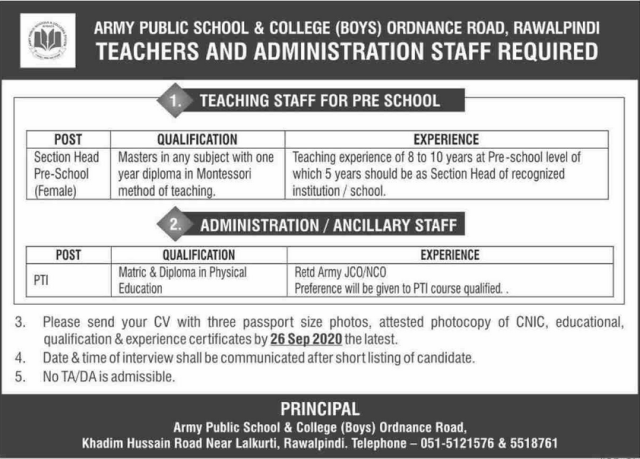 Army Public School & College Jobs 2020 in Rawalpindi