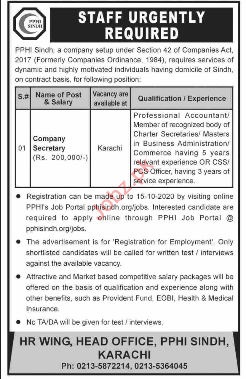 PPHI Sindh Jobs 2020 for Company Secretary