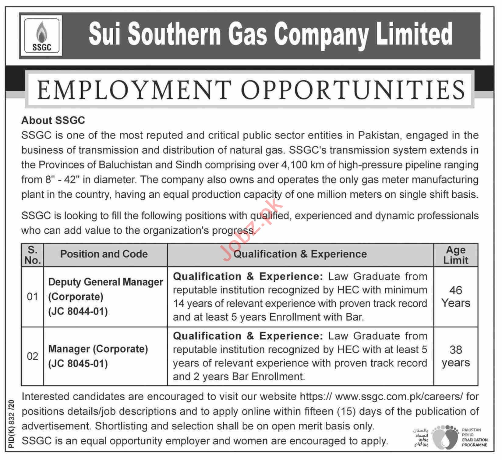 Sui Southern Gas Company SSGC Karachi Jobs 2020