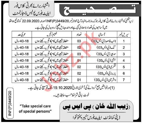 Naib Qasid & Cook Jobs 2020 in Elite Police Force KPK