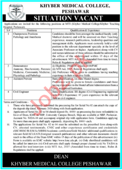 Khyber Medical College MTI Jobs 2020 for Demonstrator