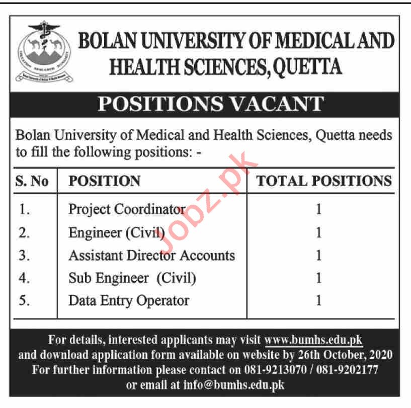 Bolan University of Medical & Health Sciences BUMHS Jobs
