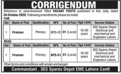 Pakistan Army 303 Spares Depot EME Lahore Cantt Jobs