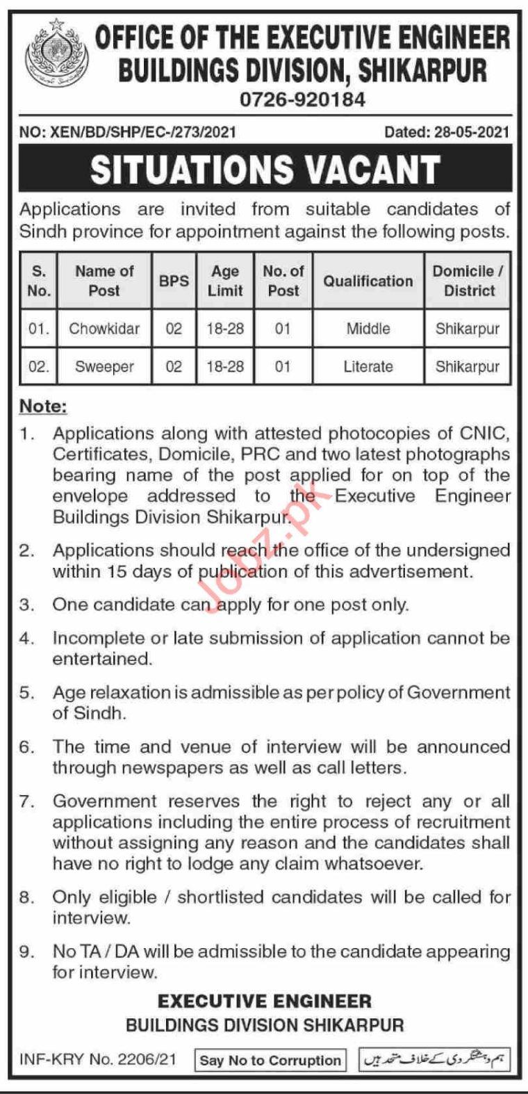 Buildings Division Shikarpur Jobs 2021 for Watchman