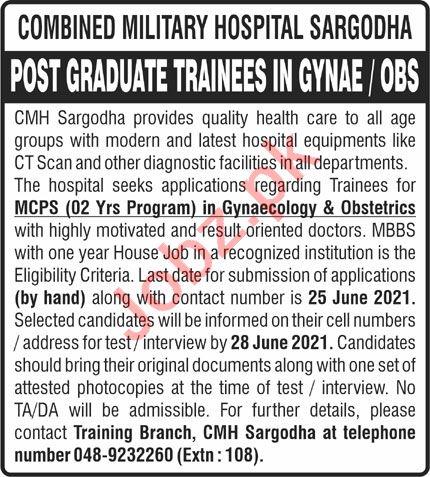Combined Military Hospital CMH Sargodha Jobs 2021