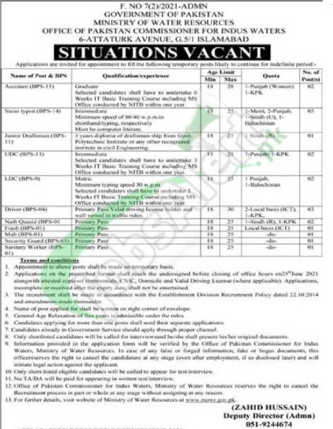 Ministry of Water Resources Latest Jobs 2021 for Stenotypist Advertisement