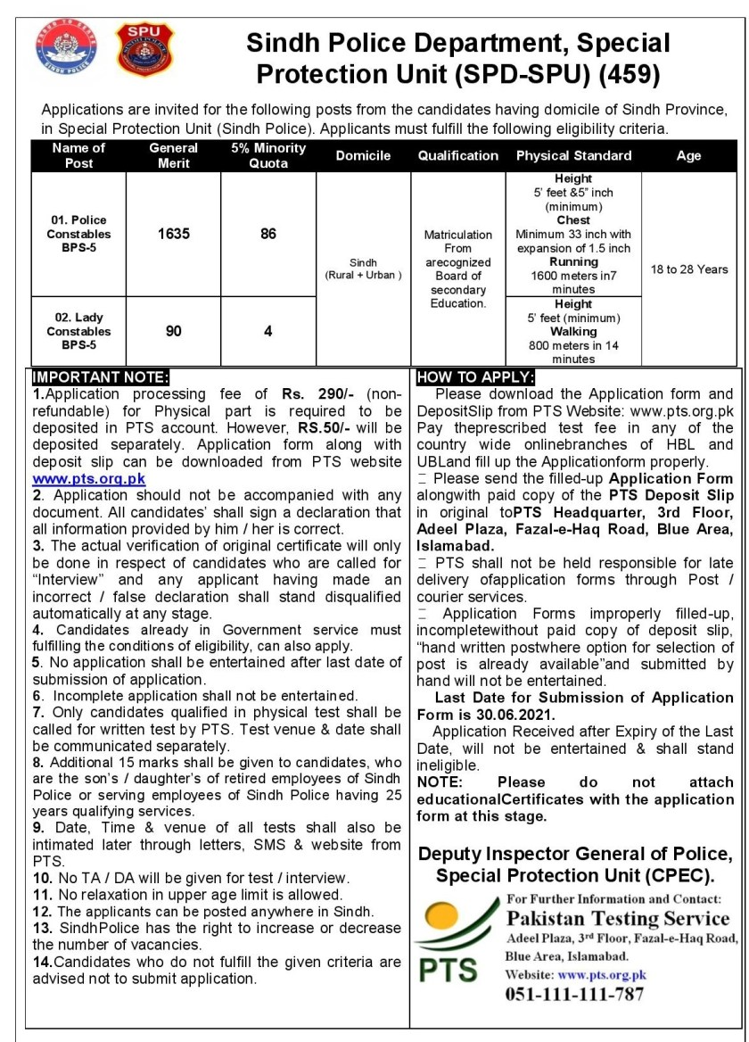 Sindh Police Latest Jobs 2021 Special Protection Unit SPU for Constables via PTS