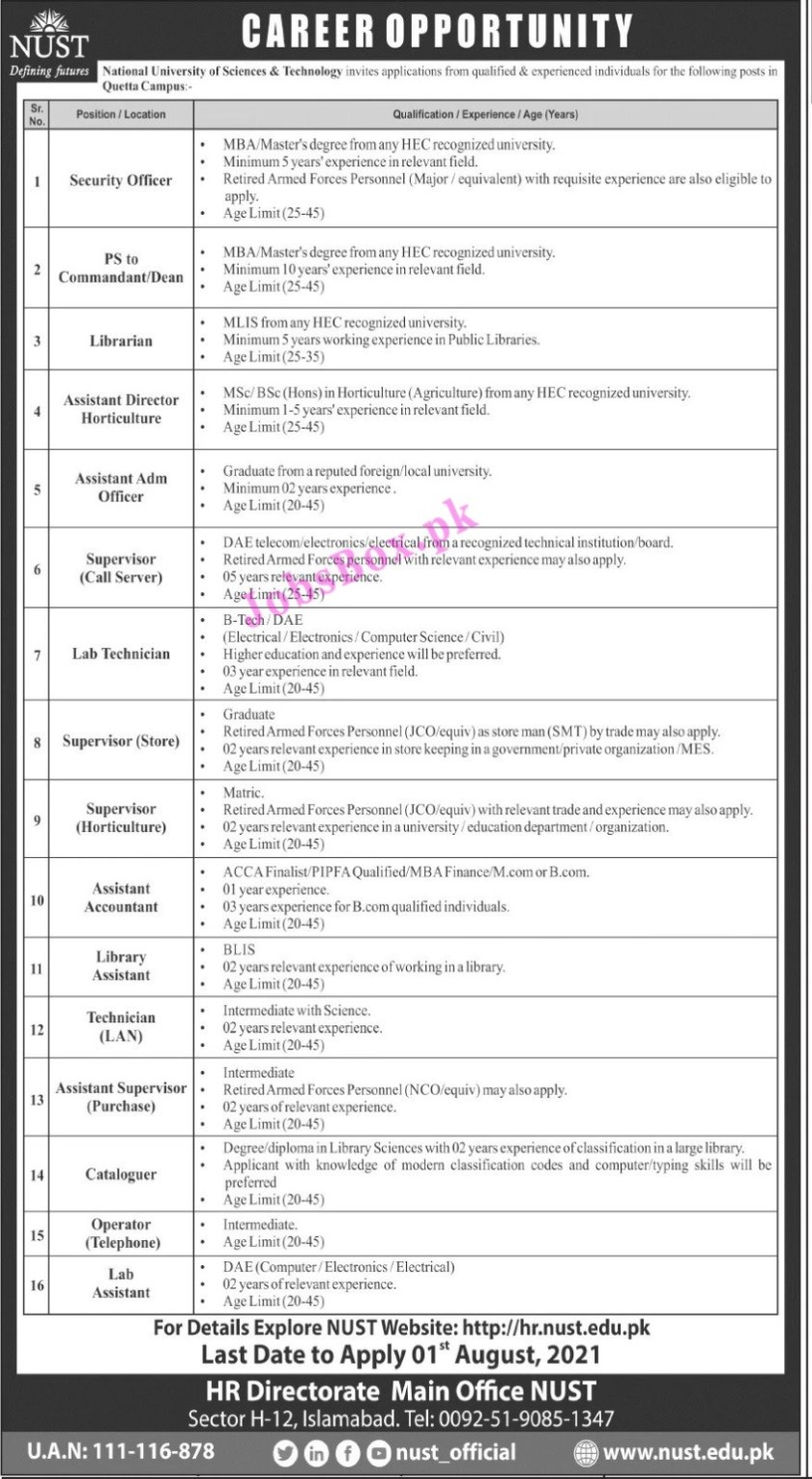 National University of Science & Technology NUST Latest Jobs 2021 – Quetta Campus