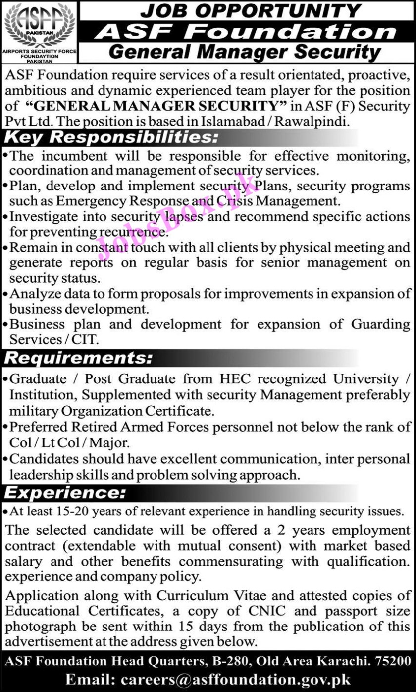 Airports Security Force ASF Foundation Latest Jobs 2021