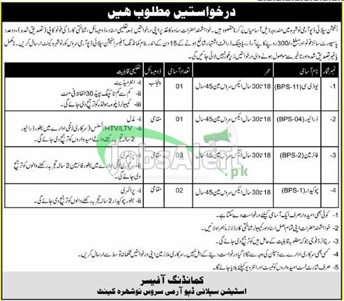 Pak Army Civilian Latest Jobs 2021 in Station Supply Depot Army Service Nowshera Cantt