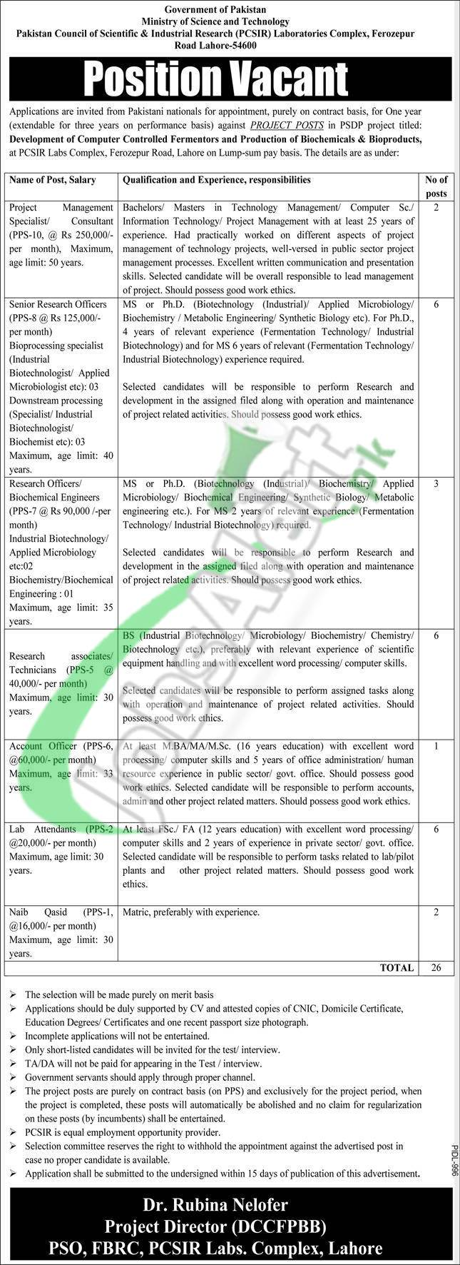 Pakistan Council of Scientific and Industrial Research PCSIR Latest Jobs 2021 Advertisement
