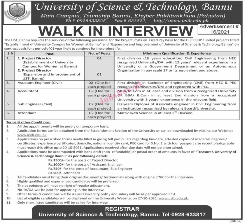 University of Science and Technology Bannu Latest Jobs 2021