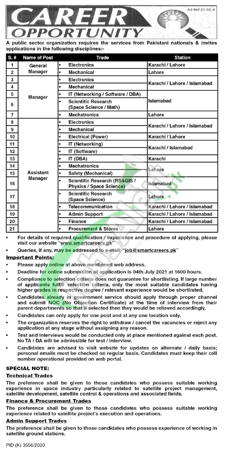 SUPARCO Jobs 2021 for Assistant Manager in Islamabad & Karachi