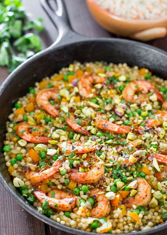 One Pot Couscous with Shrimp and Peas