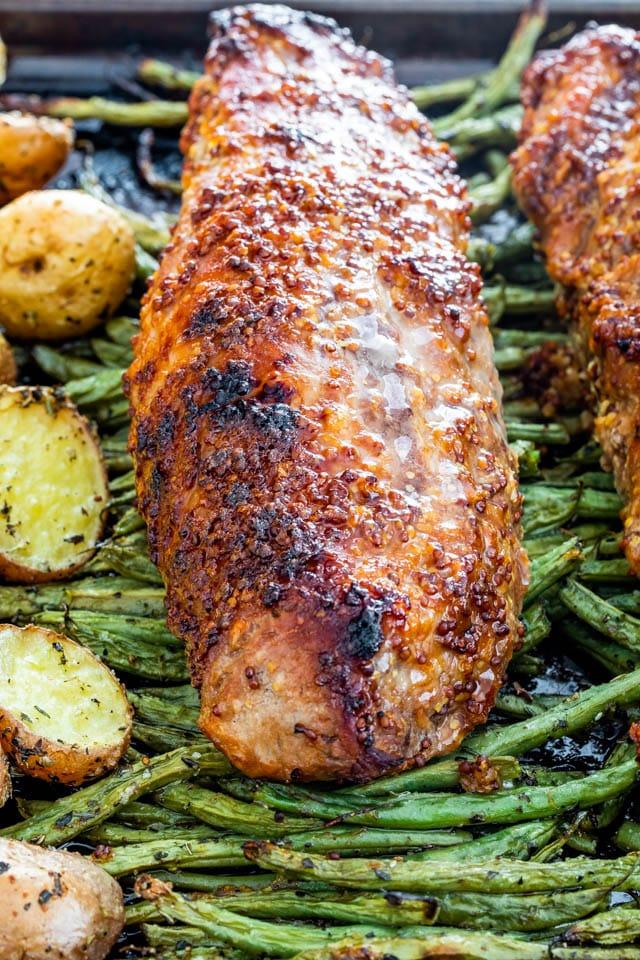Honey Mustard Pork Tenderloin over green beans