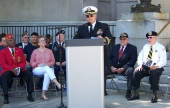 """David """"Mike"""" Wegman, Retired CDR United States Navy was the guest speaker for the Memorial Day Ceremony at the Johnston County Courthouse."""