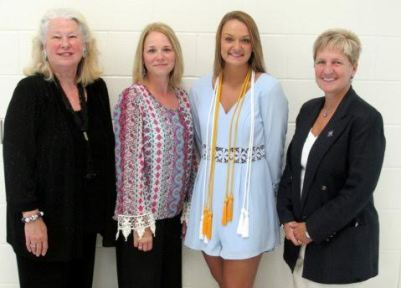 North Johnston High School senior Faith Bowen (left-center) is a 2015 Joyce W. Wade Scholarship recipient. Standing with her (from left) are Joyce Wade, Glenda Bowen, and Principal Tim Harrell.