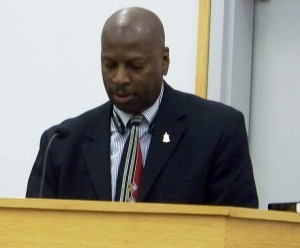 Tony Nixon, Chairman of the East Smithfield Improvement Organization discusses concerns about race relations with the Smithfield Town Council Tuesday night. WTSB Photo