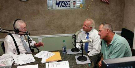 (Left to right) WTSB President Carl Lamm interviews Jeff Pope, Executive Vice President with Four Oaks Bank, and Neal Lancaster, PGA professional golfer, about the upcoming Four Oaks Bank Charity Classic Oct 1-2 at the Country Club of Johnston County. WTSB Photo