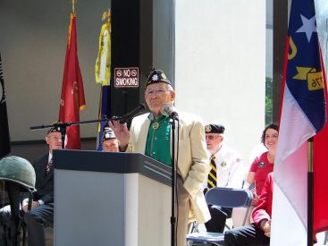 Retired Colonel Sherrill Stevens, 89, a World War II veteran and member of American Legion Post 141 in Selma was the guest speaker at the annual Memorial Day ceremony held Monday at the Johnston County Courthouse. JoCoReport.com Photo