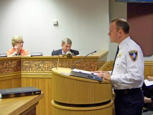 Johnston County EMS Division Chief Josh Holloman discusses a new state grant with County Commissioners on June 6th that will fund improved services for mental health patients. JoCoReport.com