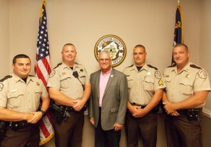 Caption: Left to Right: Sgt. Jordan Haddock, Lt. Richard Reliford, Sheriff Steve Bizzell, Sgt. William McGee and Captain Jason Crocker.
