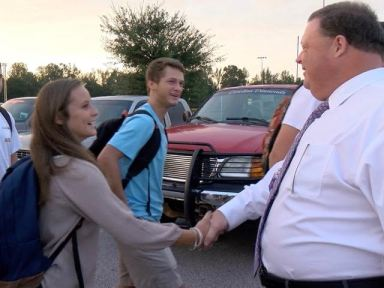 School Superintendent Dr. Ross Renfrow wishes students arriving for classes Monday morning at Corinth Holders High School a successful school year. Photos by John Payne