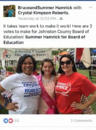 GOP Chairman Patrick Harris said Summer Hamrick was endorsing a Democratic candidate for the school board which was not the goal of the Republican party. Hamrick (far right), a Republican, is shown with Crystal Kimpson Roberts (far left) a Democrat running for the non-partisan school board. Hamrick's daughter Kaitlynd, the 2016 Outstanding Miss Johnston County, is shown in the center.
