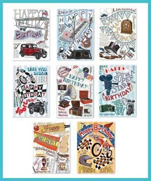 Male Birthday Packs of 8 assorted greetings cards - £7.99