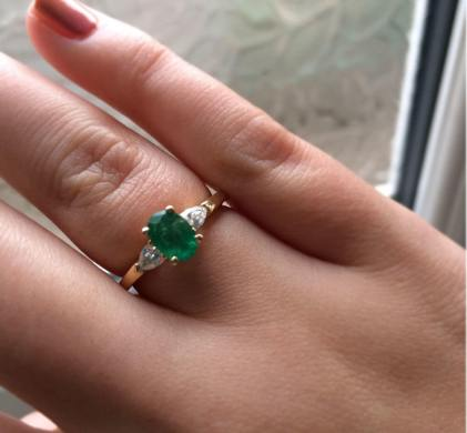 Sue's emerald and diamond triology ring