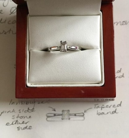 Recycled diamond engagement ring