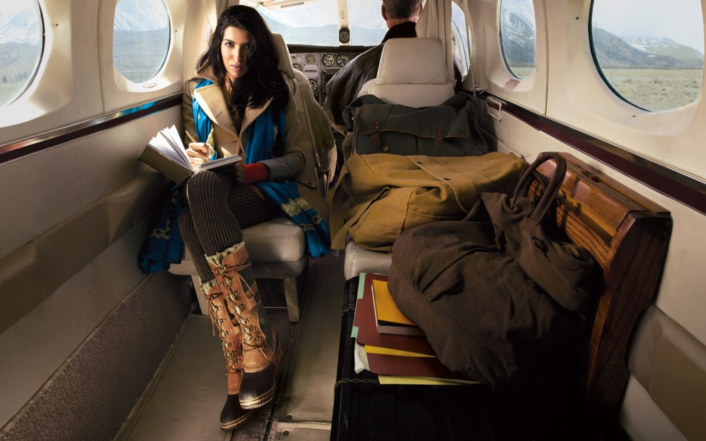Winter woman on private jet