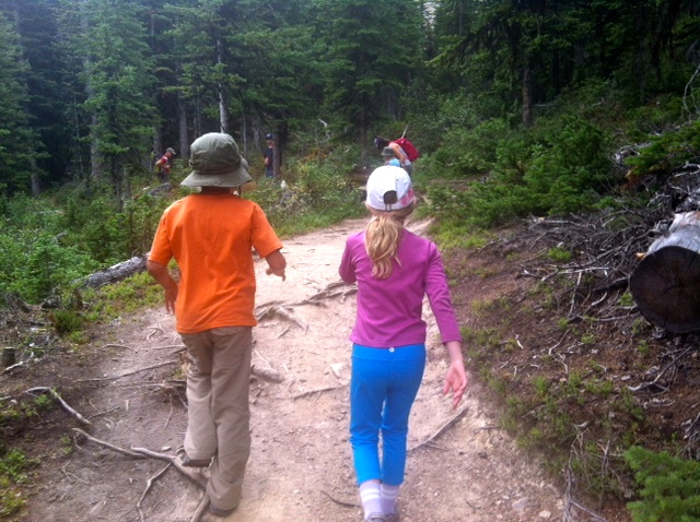girl and boy hiking