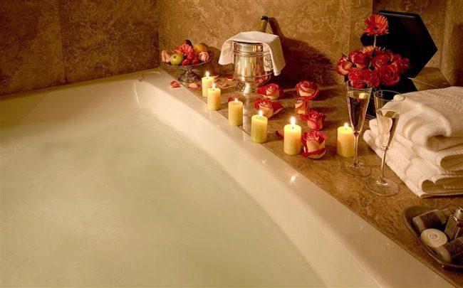 bath, candles, flowers