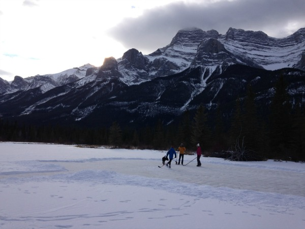 Outdoor Ice Skating at Carrot Creek in Banff National Park