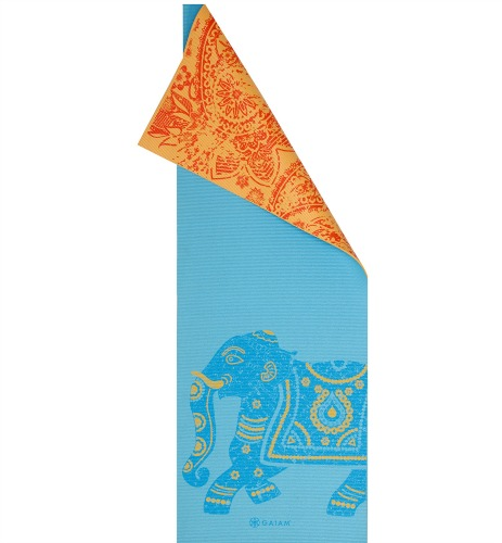 orange and blue yoga mat