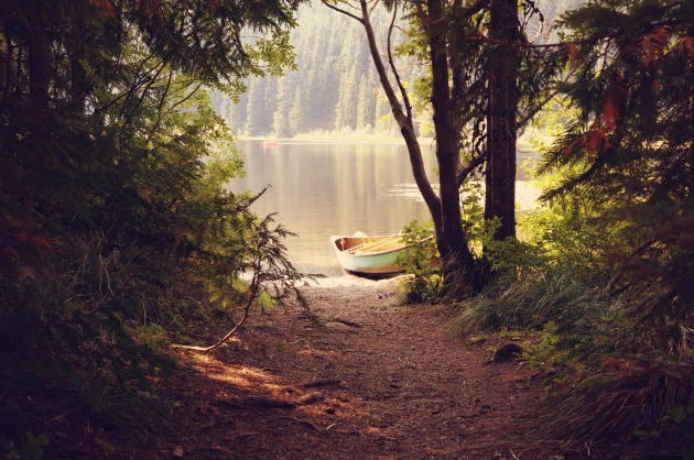 canoe-on-a-lake-in-the-woods