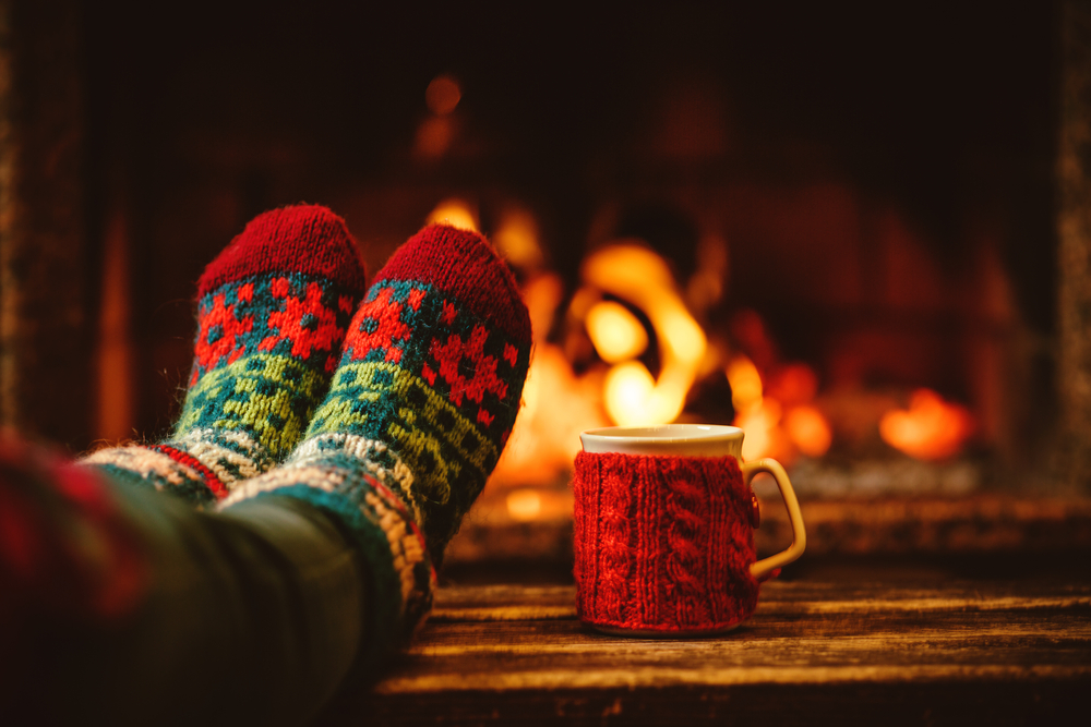 feet up by the fireplace mug of tea