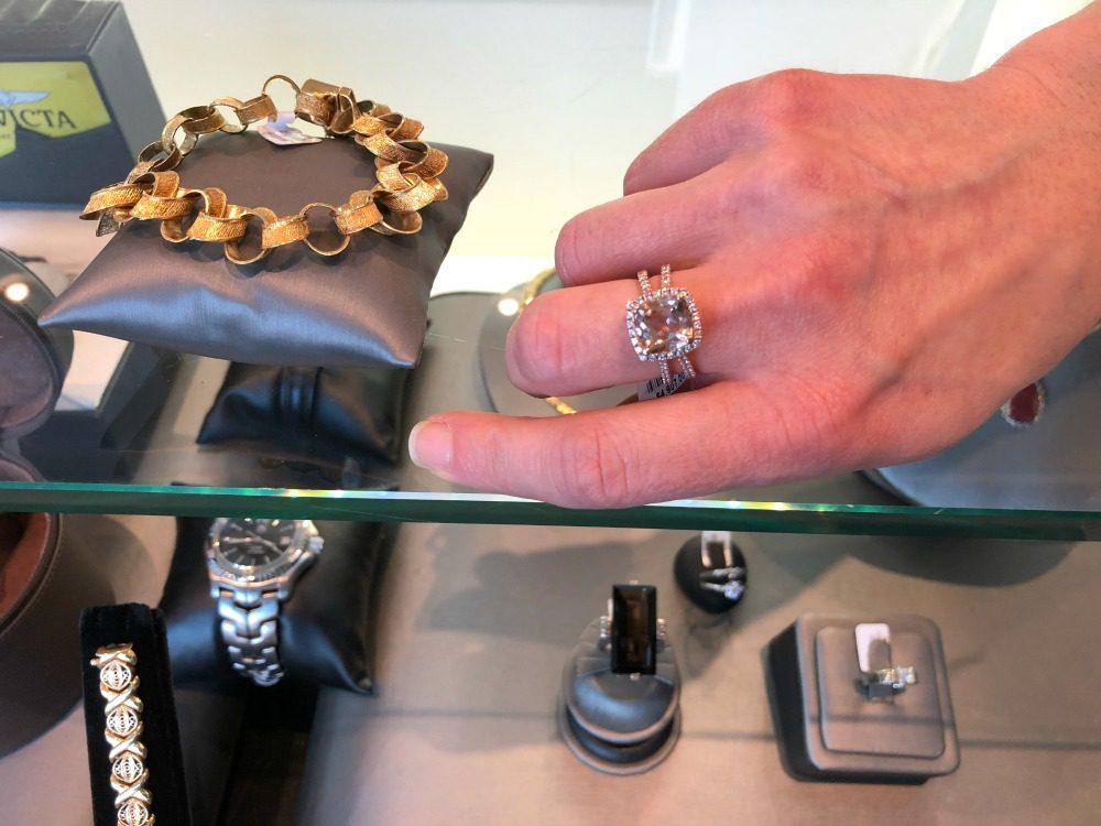 square cut pink diamond ring