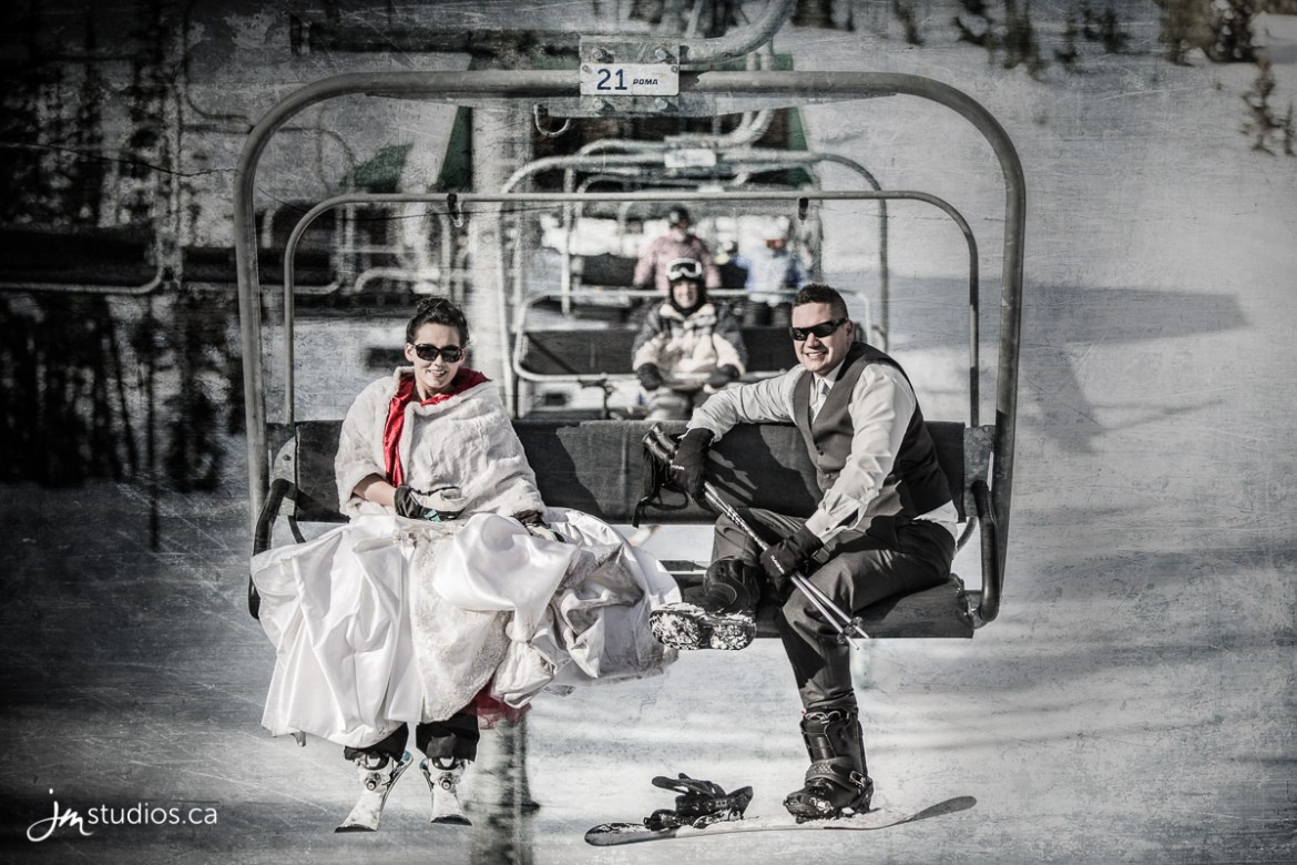 wedding couple on chair lift