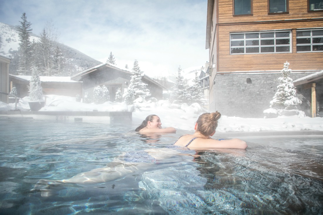 Nordic spa in the Kananaskis outdoor pool