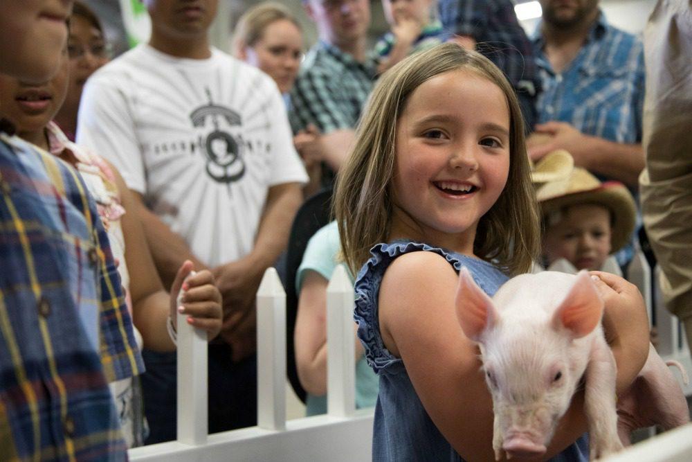 girl holding pig