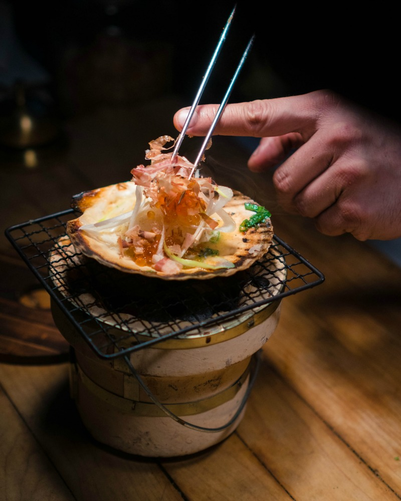 sushi scallop at Shokunin Calgary