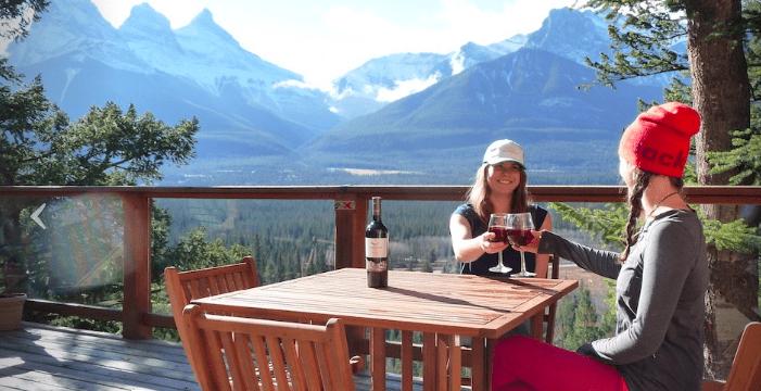 women wine outdoor patio