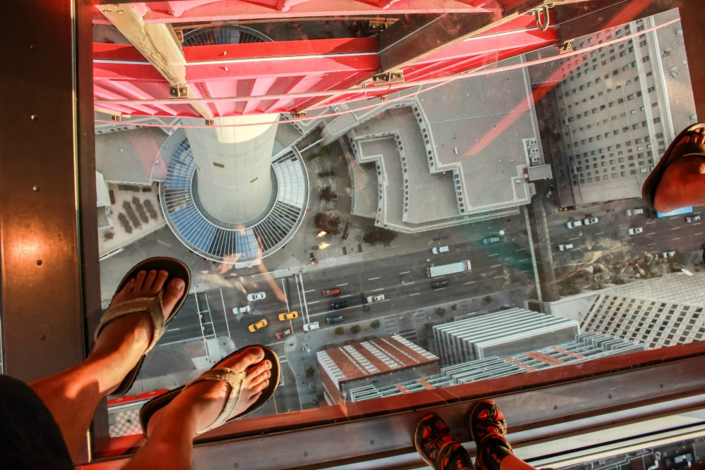 standing on observation tower glass floor