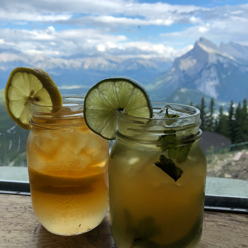 Tea cocktails at the mountaintop Cliffhouse Bistro in Banff