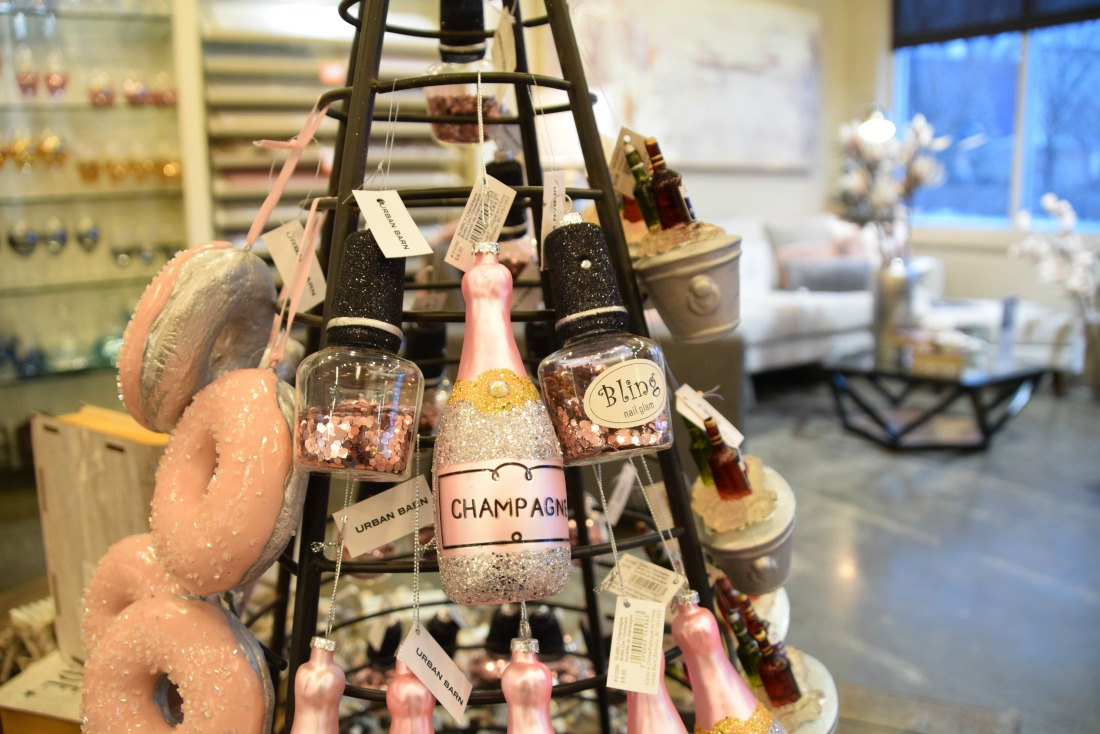 champagne christmas tree ornament