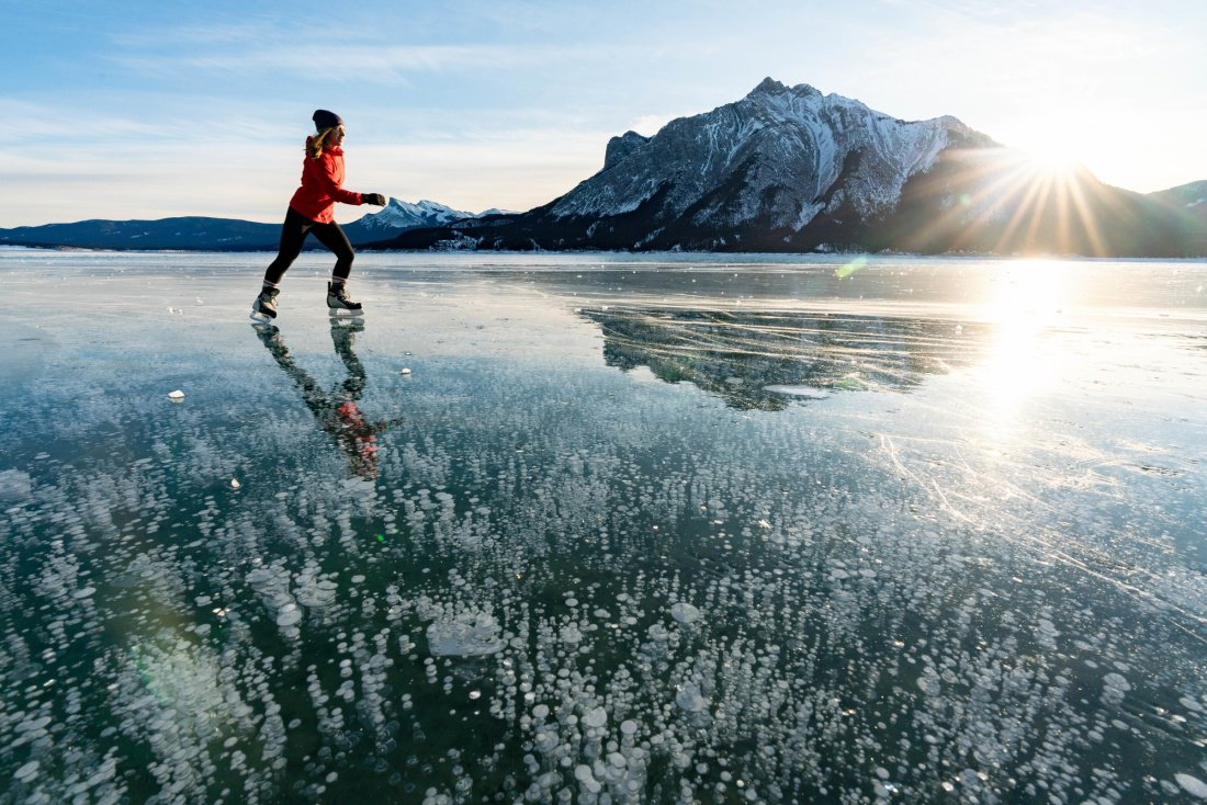 Ice Skating Abraham Lake