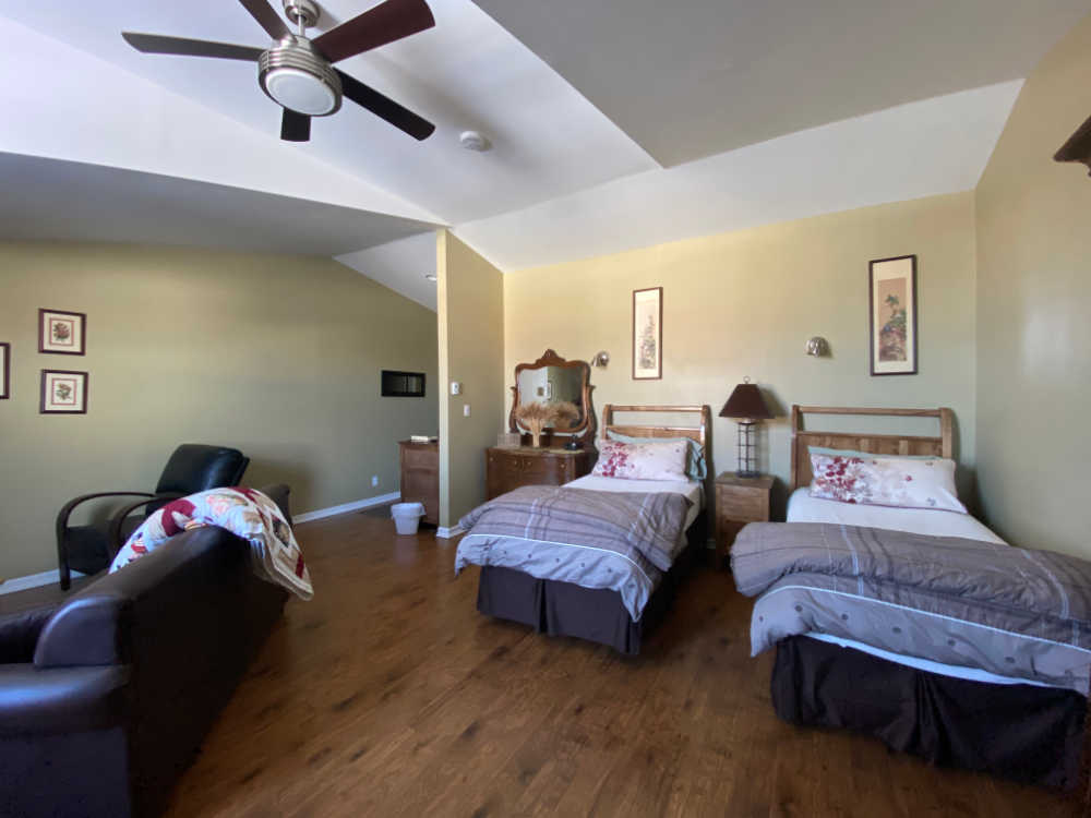Twin bed hotel guest room